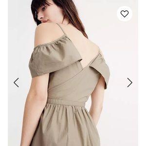 Madewell Khaki Cold-Shoulder Ruffle Dress Size 6